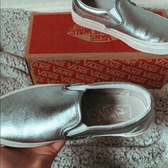 Vans Shoes   Shiny Blue Slip On Vans